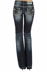 Rock & Roll Cowgirl Womens Embroidered Low Rise Boot Cut Jeans - Dark Vintage Wash (Closeout)