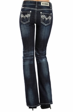 Rock & Roll Cowgirl Womens Embroidered Mid Rise Boot Cut Jeans - Dark Vintage Wash