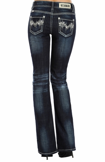 Rock & Roll Cowgirl Womens Embroidered Mid Rise Boot Cut Jeans - Dark Vintage Wash (Closeout)