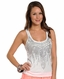 Rock & Roll Cowgirl Womens Hi-Low Rhinestud Tank Top - White (Closeout)