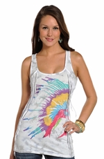 Rock & Roll Cowgirl Womens Native American Headdress Tank Top - White