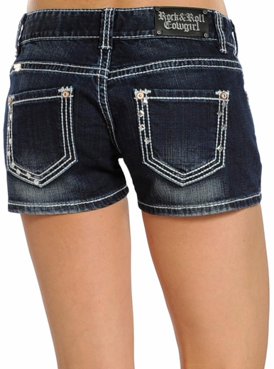 Rock & Roll Cowgirl Womens Pyramid Stud Jean Shorts - Dark Wash (Closeout)