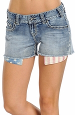 Rock & Roll Cowgirl Womens Stars and Stripes Peekaboo Pocket Jean Shorts (Closeout)