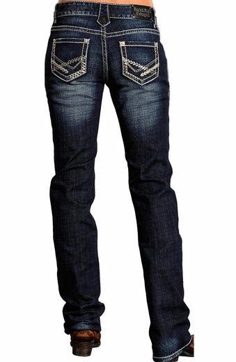 Rock & Roll Cowgirl Womens Boyfriend Jeans with Feather Stitch (Closeout)