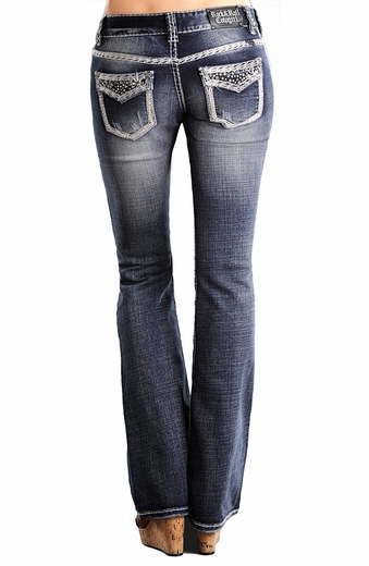 Rock & Roll Cowgirl Womens Low Rise Boot Cut Dark Wash Jeans with Faux Flaps