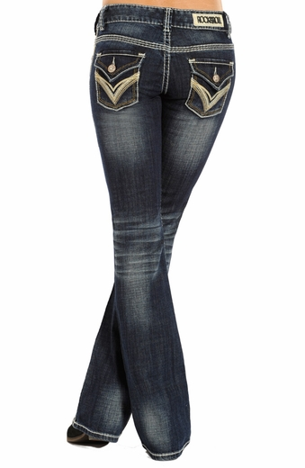 Rock & Roll Cowgirl Low Rise Boot Cut Jeans - Dark Wash