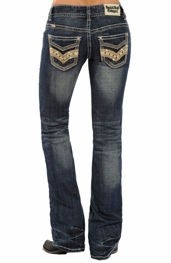 Rock & Roll Cowgirl Womens Low Rise Boot Cut Jeans - Dark Wash