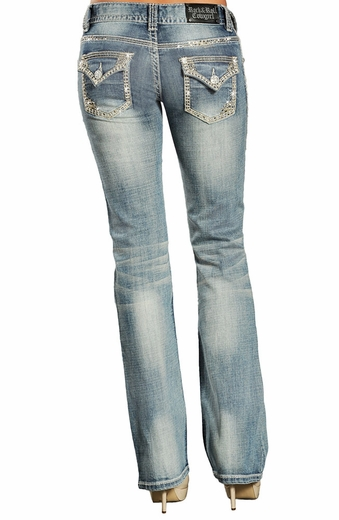 Rock & Roll Cowgirl Low Rise Boot Cut Jeans (Closeout)