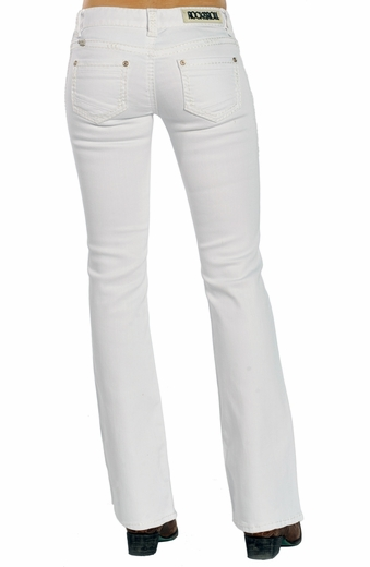 Rock & Roll Cowgirl Womens Low Rise Boot Cut Jeans - White