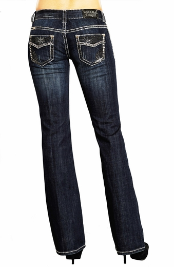 Rock & Roll Cowgirl Womens Low Rise Boot Cut Jeans with Faux Flap Pockets (Closeout)