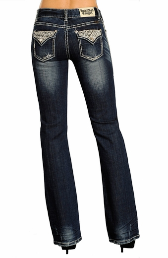 Rock & Roll Cowgirl Low Rise Boot Cut Jeans with Rhinestone Flap Pocket