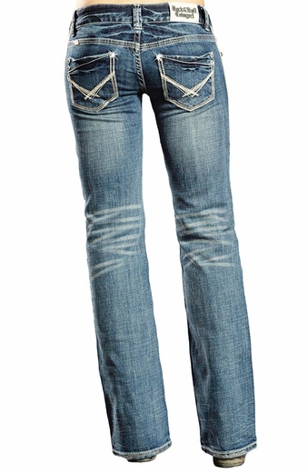 Rock & Roll Womens Cowgirl Low Rise Boyfriend Jeans - Light Wash
