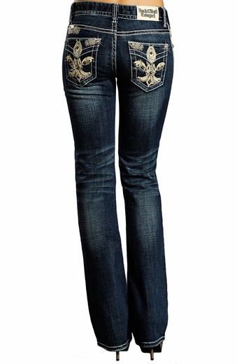 Rock & Roll Cowgirl Womens Mid Rise Boot Cut Jeans with Fleur de Lis