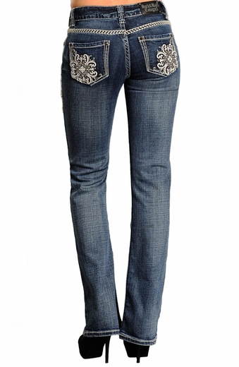 Rock & Roll Cowgirl Womens Mid Rise Boot Cut Jeans with Leather Pocket Design (Closeout)
