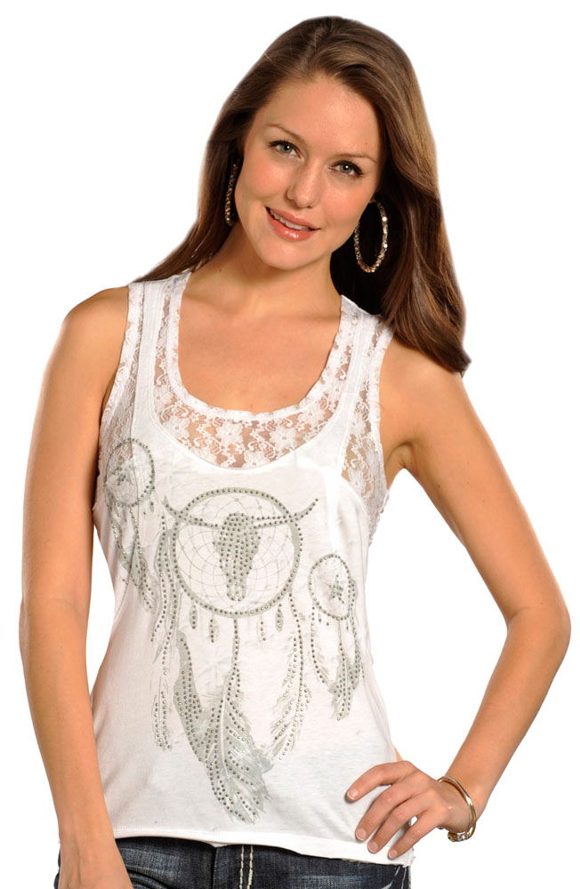 Rock & Roll Cowgirl Womens Knit Tank - White (Closeout)