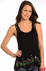 Rock & Roll Cowgirl Womens Knit Tank with Embroidery - Black