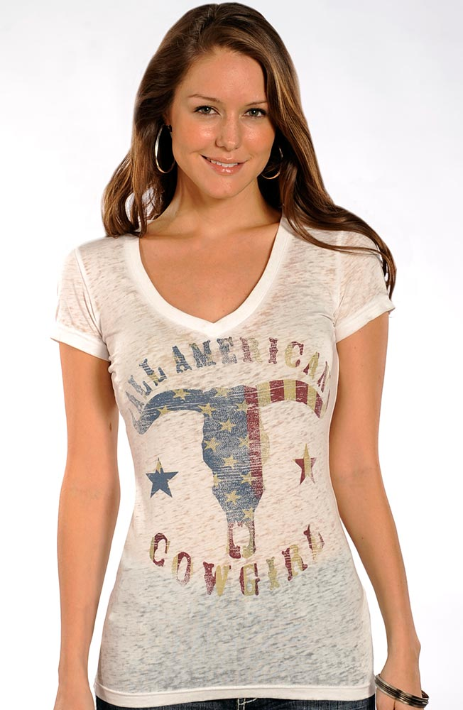 Rock & Roll Cowgirl Womens Knit Top - White (Closeout)