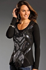 Rock & Roll Cowgirl Womens Long Sleeve Abstract Hi-Low Top - Black