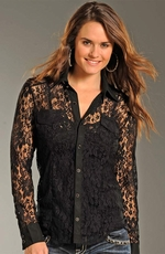Rock & Roll Cowgirl Womens Long Sleeve All Over Lace Snap Shirt