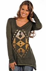 Rock & Roll Cowgirl Womens Long Sleeve Aztec Trapeze Top - Dark Green