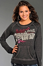 Rock & Roll Cowgirl Womens Long Sleeve Bang Bang Sweatshirt - Grey