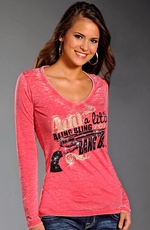 Rock & Roll Cowgirl Womens Long Sleeve Bang Bang Top - Pink (Closeout)