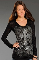 Rock & Roll Cowgirl Womens Long Sleeve Burnout Cross Top - Black (Closeout)