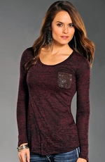 Rock & Roll Cowgirl Womens Long Sleeve Burnout Pocket Top - Burgundy (Closeout)