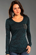 Rock & Roll Cowgirl Womens Long Sleeve Burnout Pocket Top - Teal (Closeout)