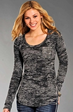 Rock & Roll Cowgirl Womens Long Sleeve Burnout with Rhinestuds Top - Charcoal