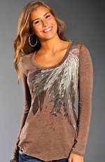 Rock & Roll Cowgirl Womens Long Sleeve Feather Top - Caramel (Closeout)
