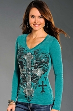 Rock & Roll Cowgirl Womens Long Sleeve Multi Cross Collage Top - Teal