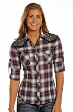 Rock & Roll Cowgirl Womens Long Sleeve Plaid Snap Western Shirt with Rhinestone Yokes - Pink (Closeout)
