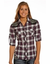 Rock & Roll Cowgirl Womens Long Sleeve Plaid Snap Western Shirt with Rhinestone Yokes - Pink