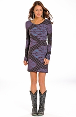Rock & Roll Cowgirl Womens Long Sleeve Print Dress (Closeout)