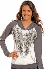 Rock & Roll Cowgirl Womens Long Sleeve Pullover Hoodie- Grey