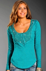 Rock & Roll Cowgirl Womens Long Sleeve Rhinestone Top - Aqua