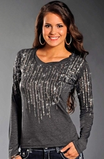 Rock & Roll Cowgirl Womens Long Sleeve Rhinestone Top - Grey