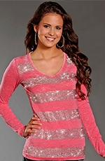 Rock & Roll Cowgirl Womens Long Sleeve Striped Burnout Top - Pink (Closeout)
