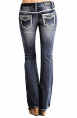 Rock & Roll Cowgirl Womens Low Rise Boot Cut Dark Wash Jeans with Faux Flaps (Closeout)