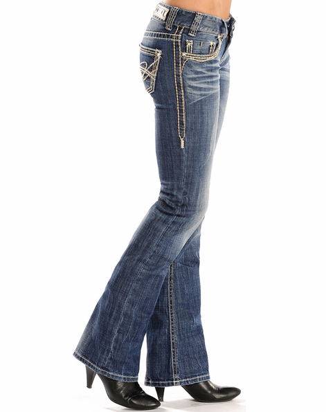 Rock & Roll Cowgirl Womens Low Rise Boot Cut Jeans (Closeout)
