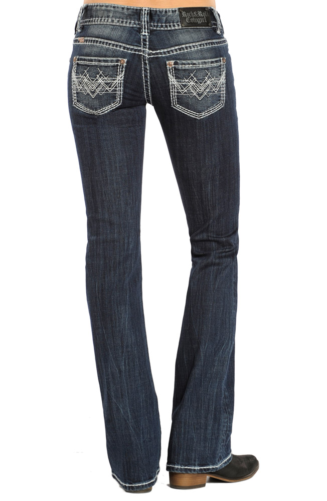 Rock & Roll Cowgirl Womens Low Rise Boot Cut Jeans - Dark Wash (Closeout)