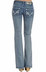 Rock & Roll Cowgirl Womens Low Rise Boot Cut Jeans - Light Wash