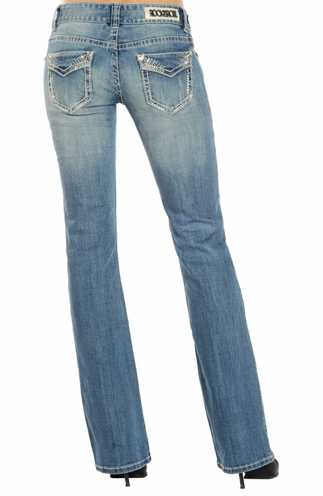 Rock & Roll Cowgirl Womens Low Rise Boot Cut Jeans - Light Wash (Closeout)
