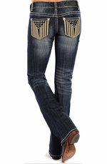 Rock & Roll Cowgirl Womens Low Rise Boot Cut Jeans - Medium Wash