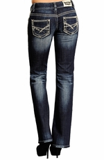 Rock & Roll Cowgirl Womens Low Rise Boot Cut Jeans with Abstract Pocket (Closeout)