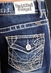 Rock & Roll Cowgirl Womens Low Rise Boot Cut Jeans with Abstract Pockets