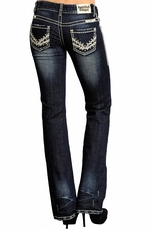 Rock & Roll Cowgirl Womens Low Rise Boot Cut Jeans with Heavy Stitch