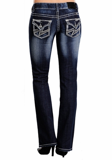 Rock & Roll Cowgirl Womens Low Rise Boot Cut Jeans With Lightning Bolt Embroidery