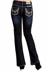 Rock & Roll Cowgirl Womens Mid Rise Boot Cut Jeans with Lurex Pocket (Closeout)